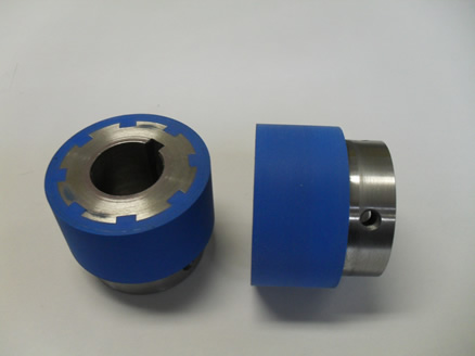 blue polyurethane on metal rollers